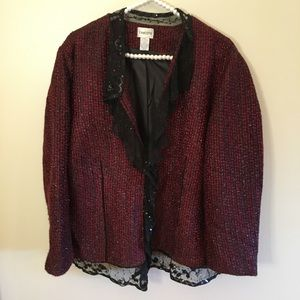 Chico's red tweed lace lined blazer jacket XL